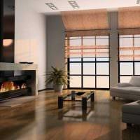 вариант яркого дизайна гостиной комнаты с камином фото