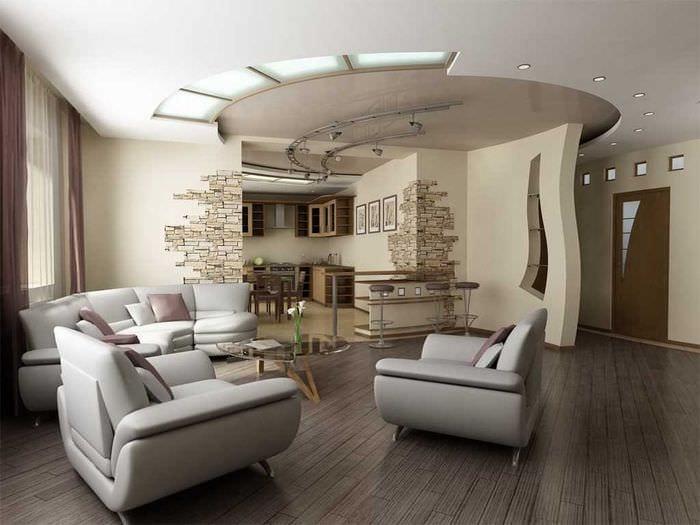 пример яркого стиля гостиной 25 кв.м