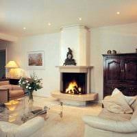 пример красивого дизайна гостиной с камином картинка