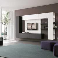 вариант светлого дизайна гостиной в стиле минимализм фото