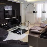 пример светлого дизайна гостиной комнаты с эркером картинка