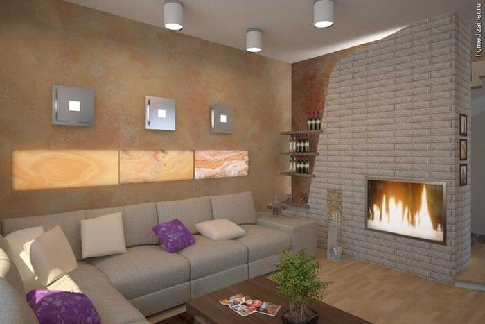 пример яркого дизайна гостиной комнаты с камином