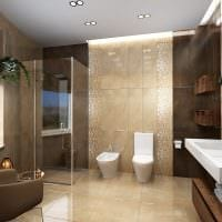 пример необычного стиля ванной комнаты в бежевом цвете картинка