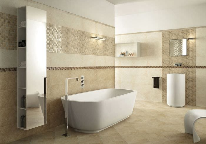 пример необычного дизайна ванной в бежевом цвете