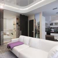 вариант светлого стиля гостиной 16 кв.м фото