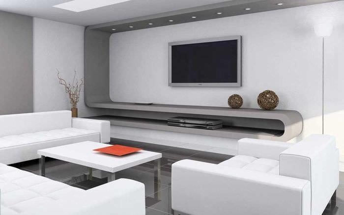вариант необычного дизайна гостиной 19-20 кв.м