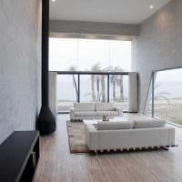 пример красивого дизайна гостиной в стиле минимализм картинка