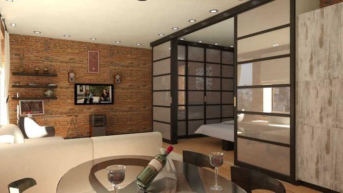 вариант необычного дизайна квартиры 50 кв.м