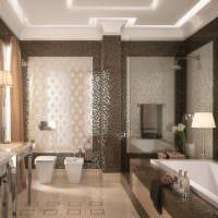 вариант светлого интерьера ванной в бежевом цвете фото