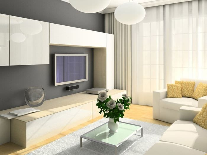 пример яркого интерьера гостиной комнаты 16 кв.м