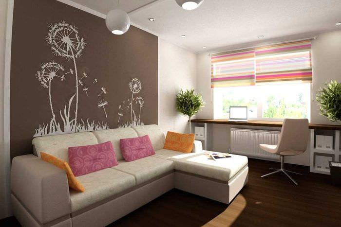 вариант яркого стиля гостиной 19-20 кв.м