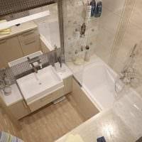 пример светлого стиля ванной в бежевом цвете картинка