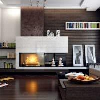 вариант яркого дизайна гостиной комнаты с камином картинка