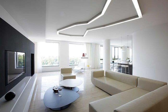 вариант необычного интерьера гостиной комнаты в стиле минимализм