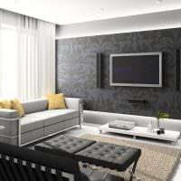 пример яркого интерьера гостиной 16 кв.м фото