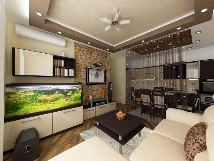 пример необычного дизайна гостиной комнаты 19-20 кв.м