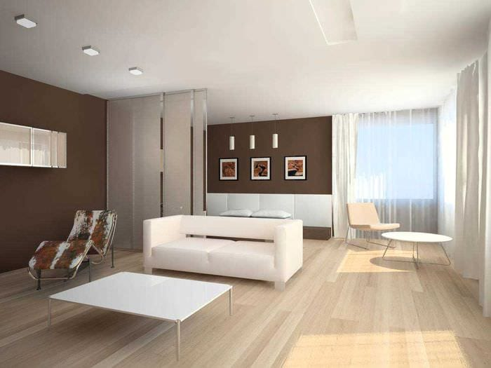 пример яркого дизайна гостиной в стиле минимализм