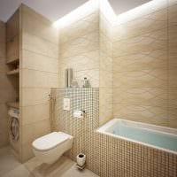 пример яркого стиля ванной в бежевом цвете фото
