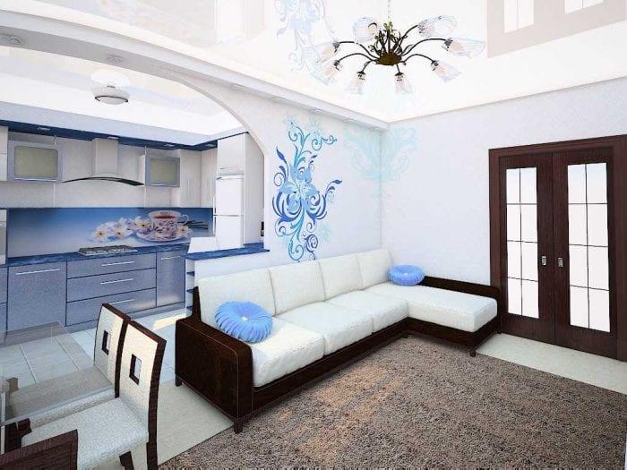 вариант светлого дизайна гостиной 25 кв.м