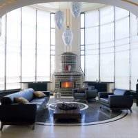 вариант необычного интерьера гостиной с эркером фото