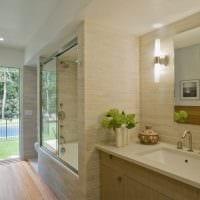 вариант красивого дизайна ванной комнаты в бежевом цвете картинка