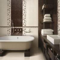 пример красивого интерьера ванной в бежевом цвете фото