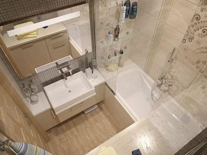 пример необычного интерьера ванной в бежевом цвете