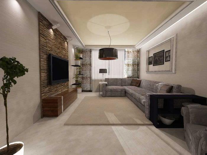 вариант красивого стиля гостиной комнаты 19-20 кв.м