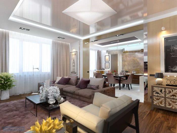 пример светлого дизайна гостиной комнаты 25 кв.м