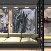 вариант необычного интерьера гостиной комнаты 16 кв.м картинка