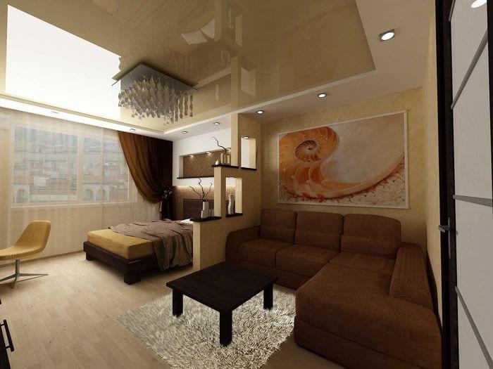 вариант необычного интерьера гостиной 19-20 кв.м