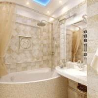 вариант светлого интерьера ванной комнаты в бежевом цвете картинка