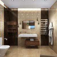 вариант необычного стиля ванной комнаты в бежевом цвете фото