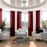 вариант необычного дизайна гостиной с эркером фото
