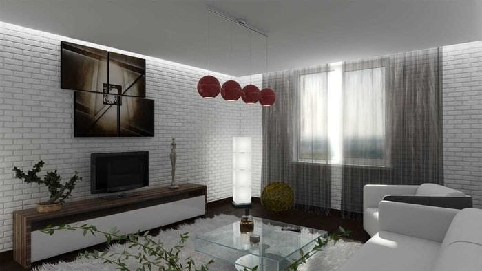 вариант светлого дизайна гостиной в стиле минимализм
