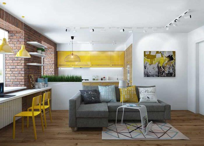 пример яркого декора квартиры 65 кв.м