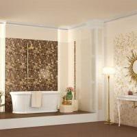 вариант яркого дизайна большой ванной фото