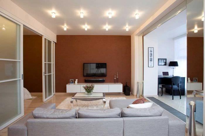 пример необычного интерьера современной квартиры 50 кв.м