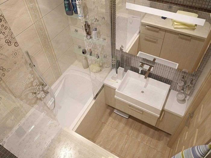идея современного интерьера ванной комнаты 4 кв.м