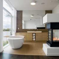 вариант необычного дизайна ванной с окном фото