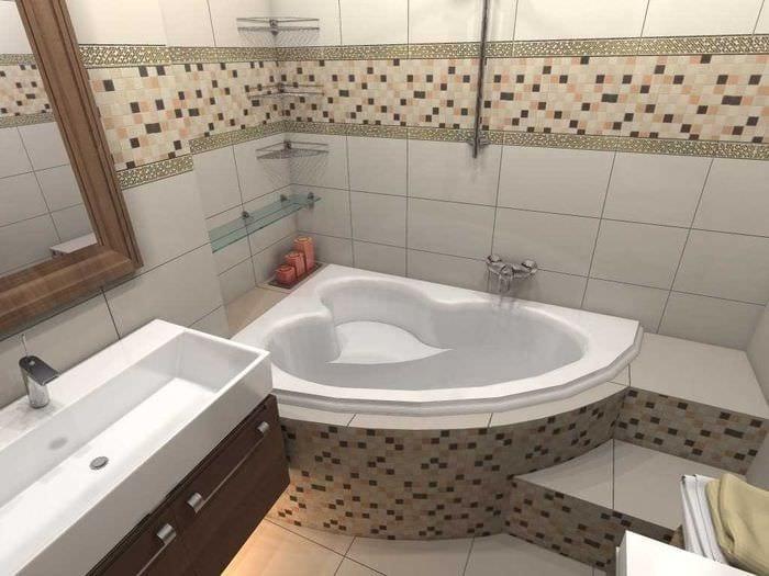 идея необычного дизайна ванной комнаты с угловой ванной