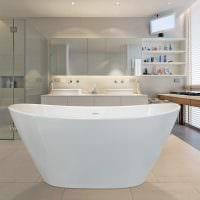 вариант яркого интерьера ванной в бежевом цвете картинка