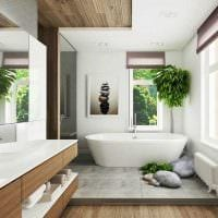 вариант современного стиля ванной комнаты в деревянном доме фото