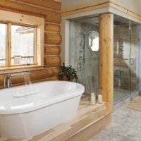 идея современного дизайна ванной комнаты в деревянном доме фото