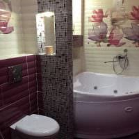 идея яркого дизайна ванной с угловой ванной фото