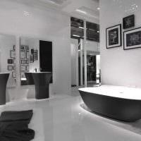 идея красивого дизайна ванной в черно-белых тонах картинка