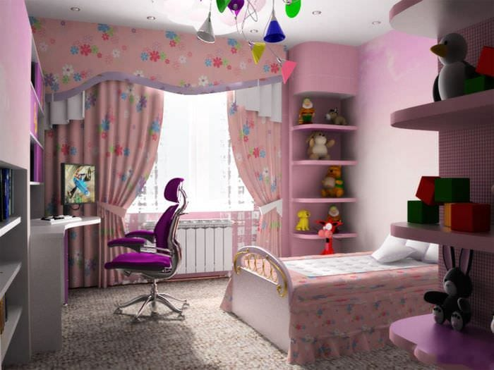 вариант красивого интерьера детской комнаты для девочки