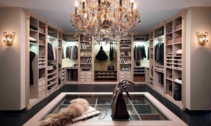 идея красивого дизайна гардеробной комнаты