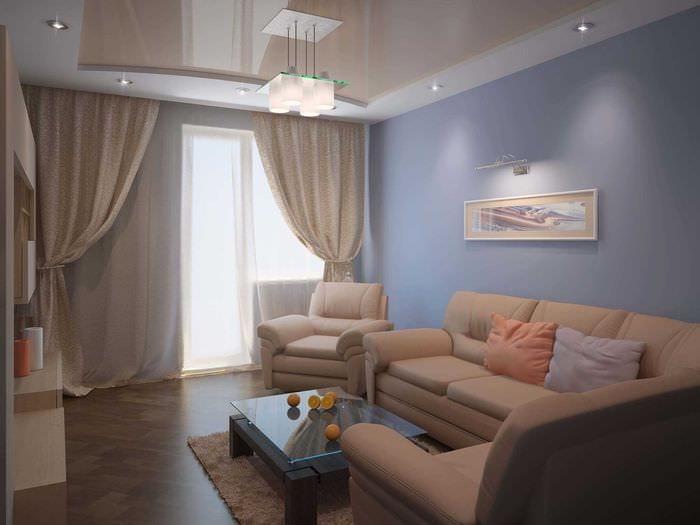 вариант красивого интерьера гостиной 25 кв.м