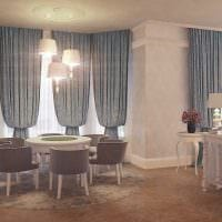 вариант яркого интерьера гостиной с эркером картинка